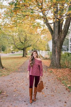 Gal Meets Glam Fall Colors In New England - J.O.A. sweater, AG jeans, Aquazzura boots & Dragon Diffusion tote. Sponsored by Shopstyle