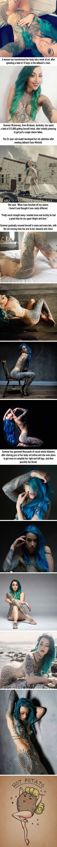 Woman Spends £13,000 To Turn Herself Into A Work Of Art - 9GAG