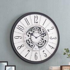 "FirsTime Oversized 36"" Wall Clock & Reviews | Wayfair Oversized Clocks, Big Clocks, Gear Clock, Farmhouse Wall Clocks, Tabletop Clocks, Grandfather Clock, Wood Colors, Brown And Grey, Rustic"