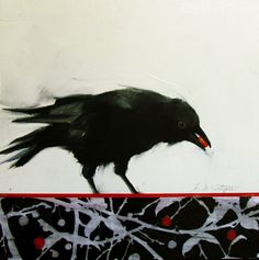 Art From My Easel...by Jacqueline McIntyre: Another Crow....Crow and Berries