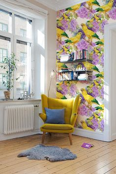 Yellow parrots removable Wallpaper - traditional - yellow Print wall mural - Self Adhesive Wall Decal - Temporary Peel and Stick Wallpaper Wall, Purple Wallpaper, Parrot Wallpaper, Home Interior, Interior Design, Do It Yourself Design, Room Decor, Wall Decor, Décor Boho