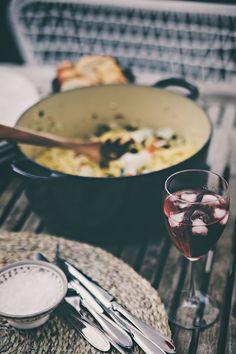 wine glass + pasta