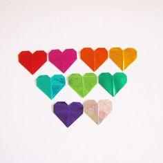 Origami Paper Hearts Foil Origami Paper Hearts 36 by KaoriCraft