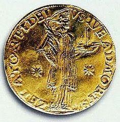 moeda de ouro portuguesa - No tempo de D. Afonso Henriques (1143-1185), primeiro rei de Portugal, continuavam a circular moedas romanas (denários e áureos), assim como moedas leonesas e muçulmanas, estas últimas principalmente de prata e ouro, os dirheme e os dinar. Em resposta às moedas de ouro muçulmanas, a monarquia portuguesa cunhou os morabitinos de ouro.