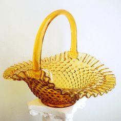 Vintage Fenton Glass Basket Colonial Amber Hobnail Crimped Edge