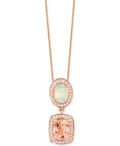 Le Vian Multi-Gemstone (1-1/2 ct. t.w.) and Diamond (1/5 ct. t.w.) Pendant Necklace in 14k Rose Gold - Necklaces - Jewelry & Watches - Macy's