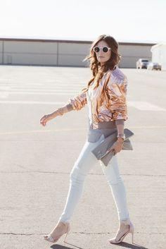 Jacket: satin bomber metallic bomber bomber gold jeans white jeans high heel sandals sandals nude