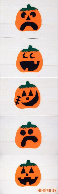 Felt Pumpkin Craft -- perfect quiet activity for toddlers and kids. Make dozens of faces with the free printable template.