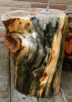 Salvaged Cedar Tree - Natural Log Side Table