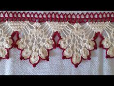 Barrado em crochê 3 - YouTube Crochet Lace Edging, Crochet Fabric, Crochet Borders, Crochet Home, Crochet Doilies, Filet Crochet, Crochet Designs, Crochet Patterns, Bargello