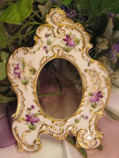 "Absolutely Rare and Exceptional Victorian Antique Limoges France Picture Frame ""Gorgeous Violets and Lily of the Valley"" Elaborate Mold Hand..."