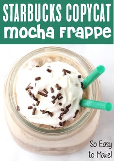 Homemade Mocha Frappe Recipe! This Easy coffee frozen blended drink tastes just as good as the real thing, but now you can have it without leaving your house!  Go grab the recipe and give it a try this week!