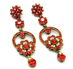 Gold Plated Ab Clear - Padparadscha Austrian Crystal Wedding Drop Chandelier Dangle Earrings by nostalgicpearls on Etsy