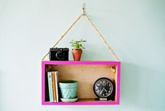This is a DIY we love! Add color and an eco-friendly touch to your Rising Barn decor with this trendy functional hanging shelf !