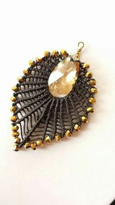 beautiful macrame pendant or earring