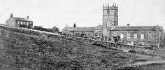 An old picture of the Parsonage, Haworth.   The house at the left is the house of the Bronte Sisters.   It is grey dark & dreary with a backyard full off spooky headstones & dead trees.