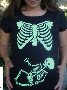 Pregnant Halloween Costume | Maternity Skeleton Tee AND it's glow in the dark!