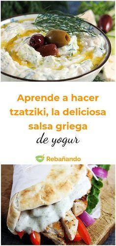 Aprende a hacer tzatziki, la deliciosa salsa griega de yogur Serbian Recipes, Lebanese Recipes, Greek Recipes, Veggie Recipes, Vegetarian Recipes, Cooking Recipes, Tzatziki, Appetizer Salads, Exotic Food