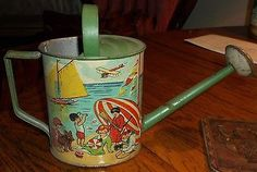 Antique Toy Tin Watering Can Sand Pail Raised Litho Beach Graphics Vintage RARE~~