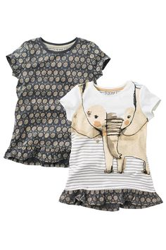 Buy Elephant And All Over Print Tunics Two Pack from the Next UK online shop Cute Outfits For Kids, Cute Kids, Cool Baby Stuff, Girly Girl, Shirts For Girls, Kids Fashion, Crop Tops, Elephant, Girl Style