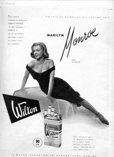 Marilyn in an advertisement for The Asphalt Jungle and Wilton Cigarettes, 1950.
