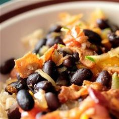 Black Beans with Bacon   Oh how I ♥♥ black beans...I can eat them every day...even the Ranch style straight from the can !