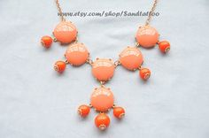 SALECoral 6 stone Bubble Statement Necklace by Sandtattoo on Etsy, $14.00