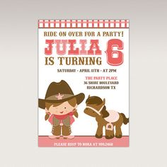 Cute Cowgirl Birthday Party printable invitation  Rodeo by PNArt