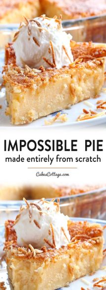 Impossible Pie is the easiest pie you will ever bake, it makes its own crust and two delicious layers while baking. Impossible Pie is the easiest pie you will ever bake, it makes its own crust and two delicious layers while baking. Easy Pie Recipes, Cake Recipes, Dessert Recipes, Cooking Recipes, Recipes Dinner, Top Recipes, Recipies, Bisquick Recipes, Banoffee Pie