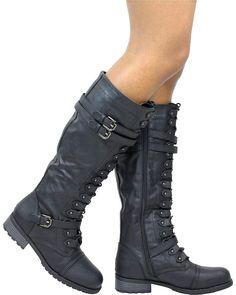 KingRover Womens Platform Faux Leather Lace Up Combat Zipper Closure Knee High Boots