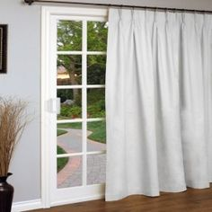 Weathermate Pinch Pleated Patio Door Curtain Panel In White For Sliding