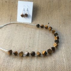 Tiger's eye cube bead necklace and earrings from Facebook Mums Jewellery Shed.