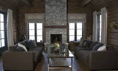 Bilderesultater for peis betong hytte Stone Cottages, Cabins And Cottages, Alpine Style, Cabin Interiors, Master Bedroom, Sweet Home, Couch, Living Room, Furniture