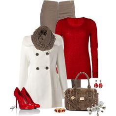 Crafted Ladder Snood Scarf, Red Sweater, Cappucino Zip Front Legging, White Coat, Tan Satchel, Red Pumps, Red Jewelry - A Touch of Class by tdfediuk on Polyvore