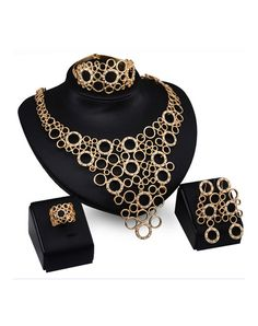 Gold Plated Layered Hoops 4Pcs Jewelry Set, Gold, Rich Long | VIPme
