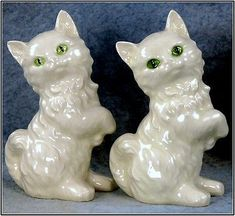 Vintage Germany Goebel Ceramic Green Eyed White Kitten Salt & Pepper Shakers