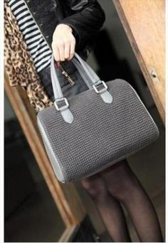 Gray knitting wool boston bag