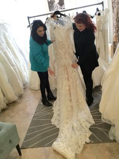 Our lovely Sales Representative Isabelle shows the new line and the fabulous dress #ForeverAmourBridalBoutique