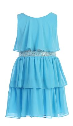 Sweet Kids Girls Sequin Belted Triple Tiered Chiffon Flower Girl Party Dress - Chiffon - 100% Polyester; Hand Washable; Made in USA - Sequin Belted Sleeveless Triple Tiered Chiffon Party Dress - Knee