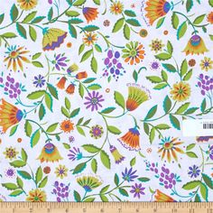 Micheal Miller Melodies Folk Floral Jewel from @fabricdotcom  Designed by Sarah Campbelll for Michael Miller, this cotton print fabric is perfect for quilting, apparel and home decor accents. Colors include white, orange, green, purple.