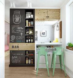Стильный бар в дизайне квартиры студии 45 кв м