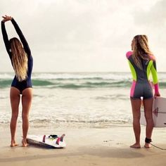 The weekend is finally here! Alana Blanchard and Nikki Van Dijk in the G-Bomb Booty & Dawn Patrol Spring Wetsuits. On location in Gold Coast, Australia. Photo by: The Beach, Beach Bum, Beach Hair, Surf Girls, Beach Girls, Sporty Girls, Summer Surf, Summer Vibes, Pro Surfer