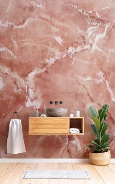 The Verona mural is a marble effect wallpaper in a rich terracotta tone that gives any room a warm, Marble Effect Wallpaper, Accent Wallpaper, Photo Wallpaper, Wall Wallpaper, Bathroom Wallpaper Marble, Verona, Beautiful Houses Interior, Beautiful Homes, Terracotta