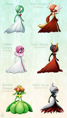 norwlin:  Gardevoir variants. It was hard not to make only fire based variations but I tried my best! There is only two fire types. Really fun to make again!