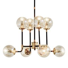 Mid century modern atomic sputnik brass chandelier light fixture 6 ...