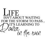 I'd rather dance in the rain, and enjoy the water falling over me, then waiting inside for it to pass.