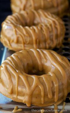 baked buttermilk pumpkin donuts with brown butter-maple glaze