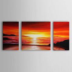 Χέρι Βαμμένο Λάδι Sea Τοπίο Ζωγραφική με Τεντωμένο Set Frame των 3 1306-LS0331 – EUR € 99.99