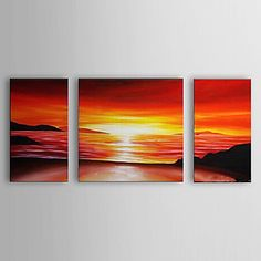 Hand Painted Oil Painting Landscape Sea with Stretched Frame Set of 3 1306-LS0331 – AUD $ 140.26