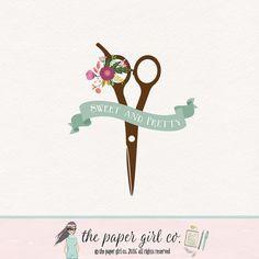 hair salon logo hair dresser logo hair stylist by ThePaperGirlCo
